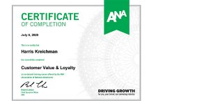 Harris Kreichman - ANA Customer Value & Loyalty Certificate of Completion